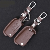 Car Leather Fob Key Wallet Cover Case Ring For VW Polo Golf Mk6 Passat CC B5