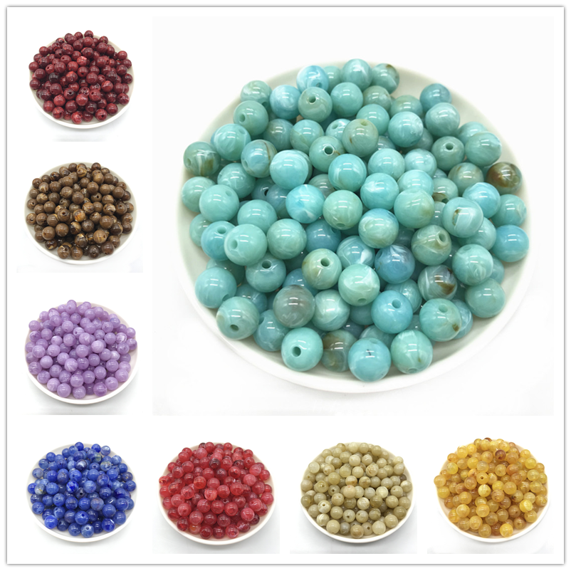 Hot 6 / 8 / 10mm Imitation Natural Stone Round Acrylic Beads For Jewelry Makeing DIY Bracelet necklace