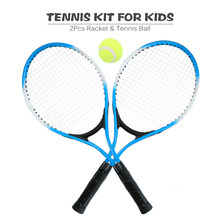 2Pcs Kids Outdoor Sports Tennis Racket String Tennis Racquets with 1 Tennis Ball and Cover Bag Good Training Kit for Kid(China)
