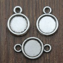 Fit 8mm Round Glass Cabochon Antique Silver Color Cabochon Base Setting Charms Collection Jewelry Making(China)