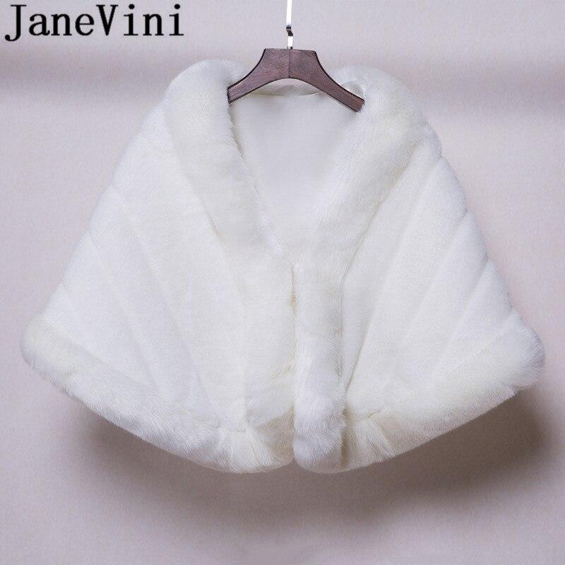 JaneVini 2019 White Fur Stole Winter Warm Bridal Shawl Wraps Bride Coat Wedding Cape For Evening Prom Girls Bolero De Mariage