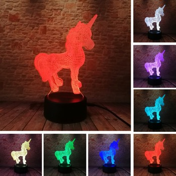 3D Creative Luminaria Unicorn LED Table Lamp Lantern 7 Color Change Night light Lampe Led Cartoon Usb Light Xmas New Year Gifts