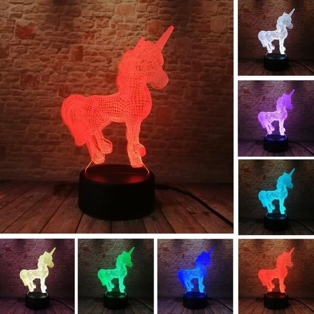 3D Creative Luminaria Unicorn LED Table Lamp Lantern 7 Color Change Night light Lampe Led Cartoon Usb Light Xmas New Year Gifts