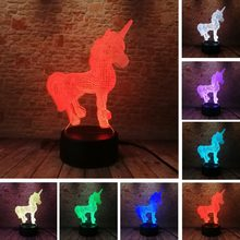 3D Creative Luminaria Unicorn LED Table Lamp Lantern 7 Color Change Night light Lampe Led Cartoon Usb Light Xmas New Year Gifts(China)