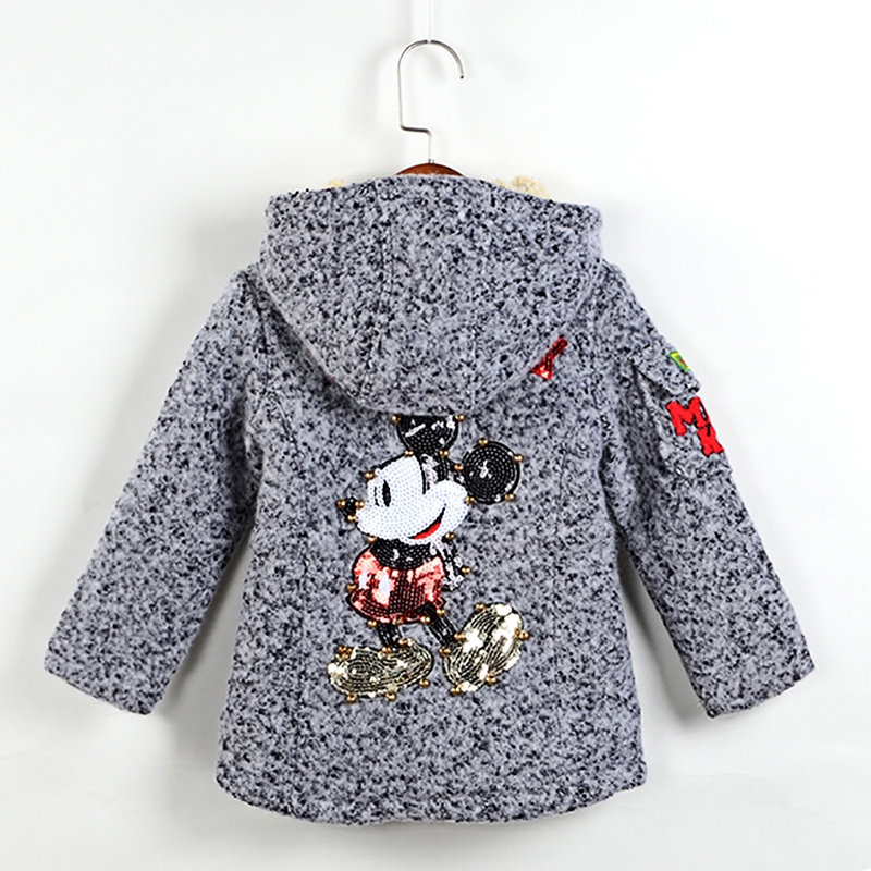 Children Baby Girls Coats Outerwear Winter Miki White Gray Mouse Sequin Jackets Woolen Kids Warm Clothes For 2 3 4 5 6 Years