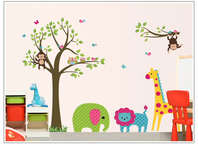 Drop ship Acceptable Monkeys Owls Giraffe Childrens Wall Art Stickers Huge Sheets 60*90cm цены