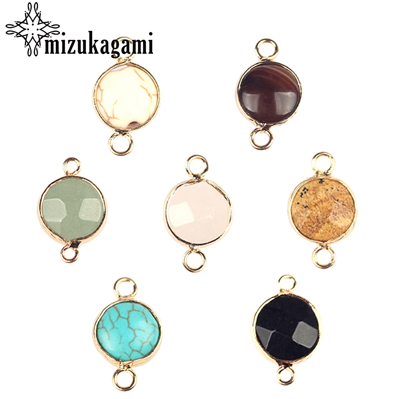 11*19mm Natural Stone Charms Pendant Round Shape Double Hole Connector Charm Pendant For DIY Necklace Making Finding Accessories