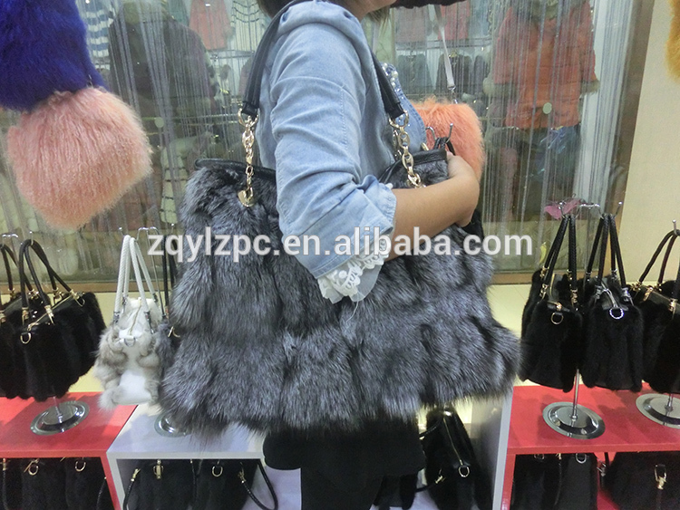 2016 Latest Genuine Leather Real Fox Fur Lady Shoulder Bags2016 Latest Genuine Leather Real Fox Fur Lady Shoulder Bags