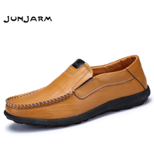 JUNJARM Handmade Mens Loafers Split Leather Men Slip On Shoes Breathable Casual Mens Moccasins Shoes Plus Size 38-46