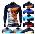 Fashion 2015 New Multicolor Men's Slim O-neck Spell color long-sleeved T-shirt Men Casual Wild bottoming shirt sportwear T-shirt