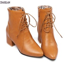 CDAXILAN new arrivals boots women soft leather pointed toe middle heel ankle ladies motorcycle spring autumn fashion