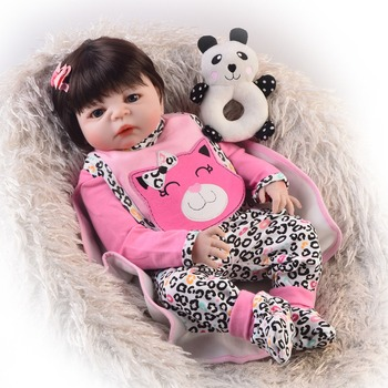 """Bebes reborn 23""""57cm full silicone baby reborn dolls toys for child gift juguetes real  alive doll reborn"""