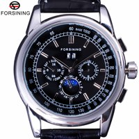 Forsining Luxury Moon Phase Design ShangHai Movement Fashion Casual Wear Automatic Watch Scale Dial Mens Watch