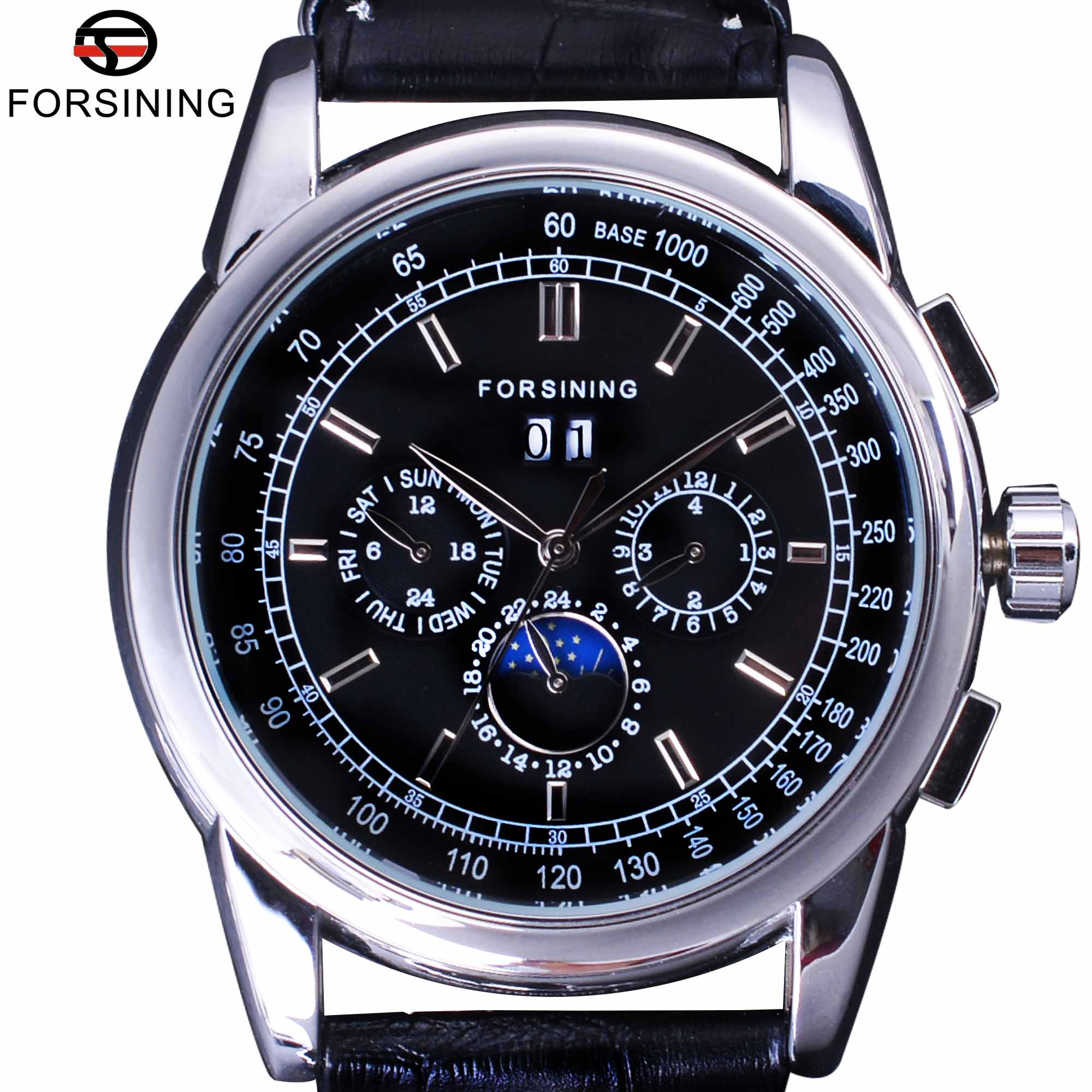 Forsining Luxury Moon Phase Design ShangHai Movement Fashion Casual Wear Automatic Watch Scale Dial Mens Watch Top Brand Luxury берестов мед горный аргентина 100 г