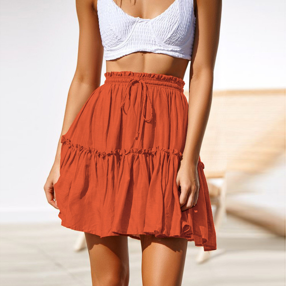 4e6a27d73 Mini Falda plisada Sexy Casual volantes lisos faldas línea a mujeres verano  encaje hasta la cintura ...