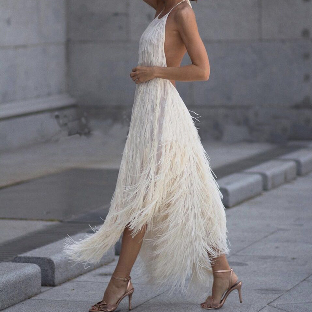 Fringed Sexy Summer Dress Women Backless Sleeveless Elegant Solid Hanging Neck Dress Casual Party Girl Dress Fashion Robe Femme