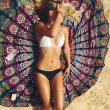 New Round Wall Hanging Beach Towel Yoga Mat Floral Print Camping Pad Bohemia Style Print Tapestry