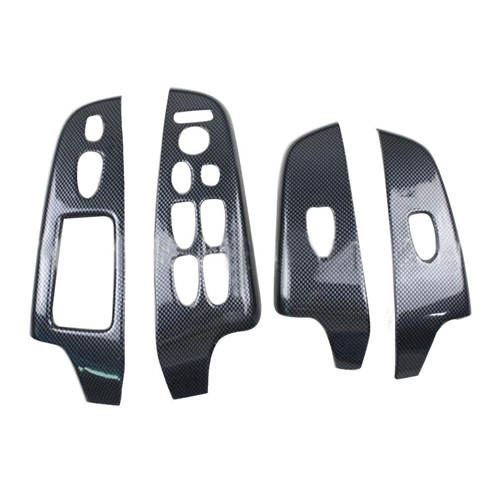 BBQ@FUKA 4pcs ABS Carbon Fiber Color Car accessories For Honda Civic 2006-2011 Car interior Door Window Lift Buttons Cover Trim car carbon fiber color abs interior mouldings inner gear shift covers panel trim decal for honda civic 2006 2011 mt car styling