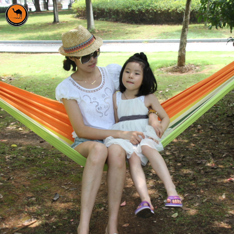 Portable Hammock 200*100cm for 2 Person Mother&Child TenderGreen Striped Canvas Hammocks Camping Backpacking Hiking thicken canvas single camping hammock outdoors durable breathable 280x80cm hammocks like parachute for traveling bushwalking