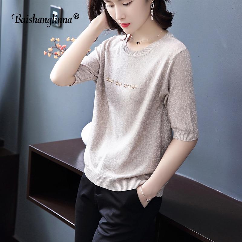 Baishanglinna 2018 Nueva Verano Camiseta de Punto de Las Mujeres - Ropa de mujer