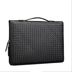 multifunctional genuine leather A4 file folder for documents business document zipper bag with bandage handle brief case 1232B