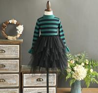 New Baby Girls Autumn Boutique Striped Knitting Mesh Dresses Princess Kids Sweet Dress Wholesale