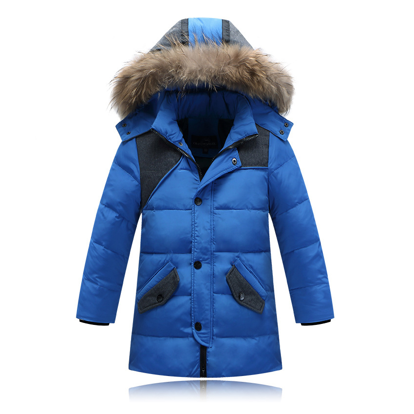 Kids Long Down Jacket With Fur Hood Children Winter Jackets For Boys Fashion Thick Boys Parka Coats Children Parka  C9 2017 fashion boy winter down jackets children coats warm baby cotton parkas kids outerwears for