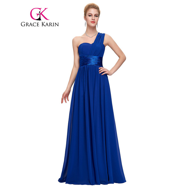 f8c7dbe8527f Grace Karin Long Prom Dresses One Shoulder Royal Blue Red Black Chiffon  Robe De Soiree Party