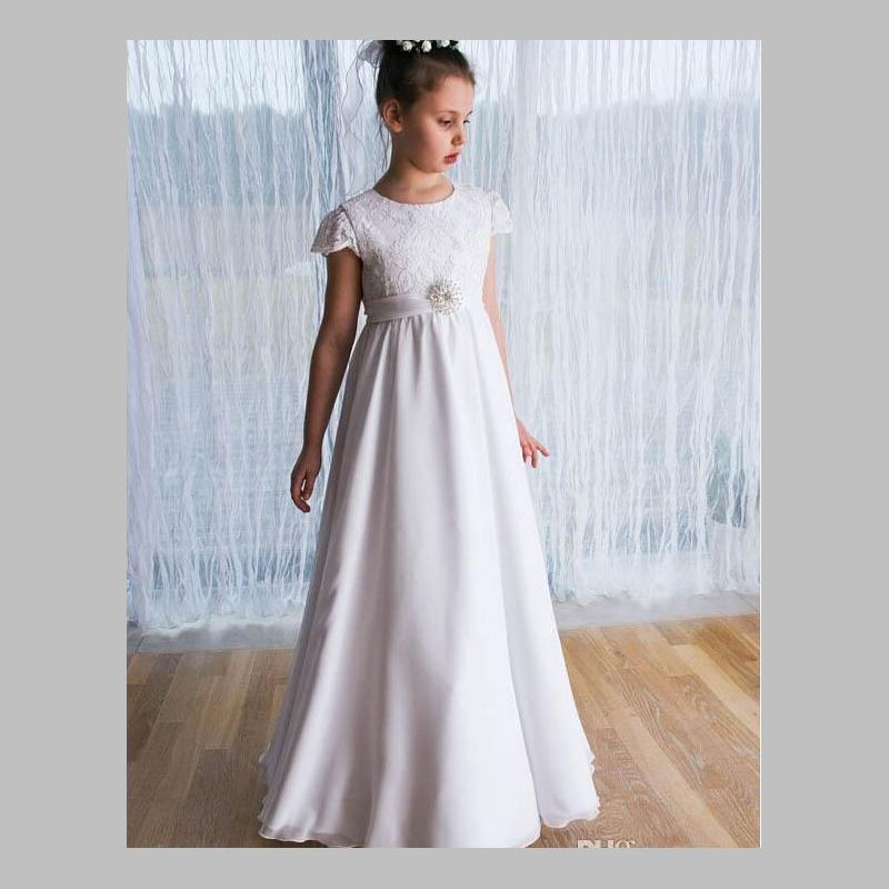 Gorgeous 2017   Flower     Girl     Dresses   New Arrival Cap Lace Sleeve A Line Floor-Length Sash Cheap Pageant   Dresses