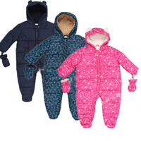New Baby Autumn Winter Romper Padded One Piece Children Kids Jumpsuit 6months 2Years Baby Winter Overalls