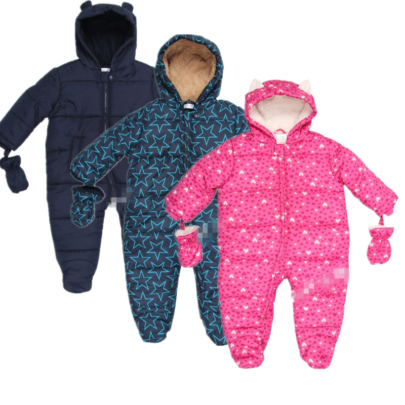 new Baby autumn/winter romper Padded One Piece Children Kids Jumpsuit 6months 2Years, baby winter overalls, 3 colors