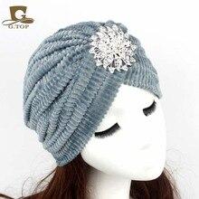2016 New Fashion Women Diamond Jewel Turbante Stretch coral Velvet Turban Headband Great Hijab Hat Indian Cap G-300