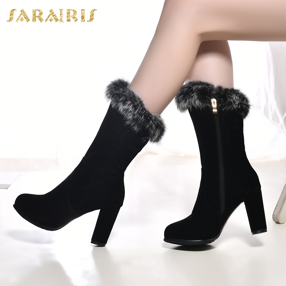 SARAIRIS Brand new plus Size 31-43 Zip Up Hot Sale Add Fur Winter Boots Woman Shoes high Heels Mid Calf Boots Female Shoes Women sarairis new plus size 32 46 slip on add fur add fur winter boots woman shoes chunky heels mid calf boots shoes woman