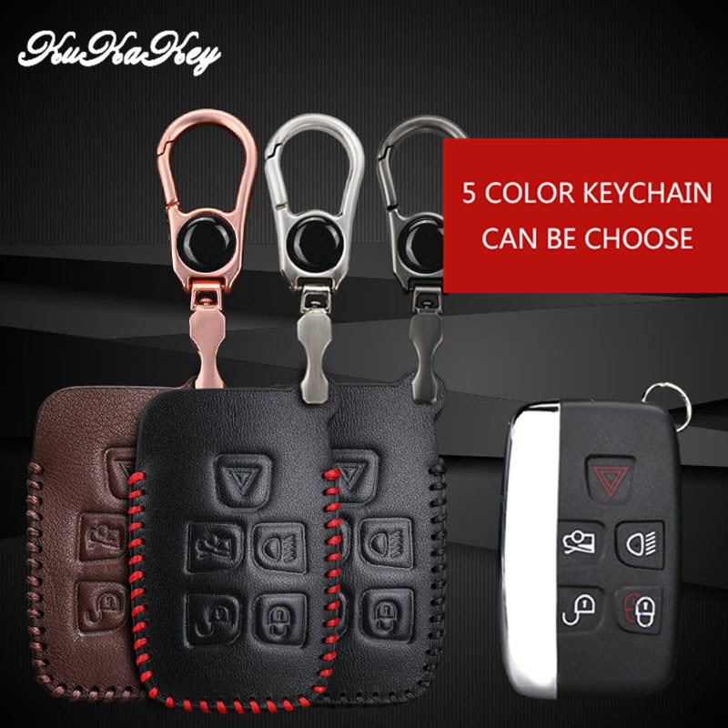 KUKAKEY 5 Button Leather Car Key Case For Land Rover Freelander Range Rover A8 A9 Discovery Defender Car Key Fob Protected Cover