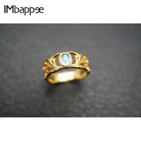 Imbappee 925 Silver with 1 4K Gold palace wind carving hollow Moonstone Ring