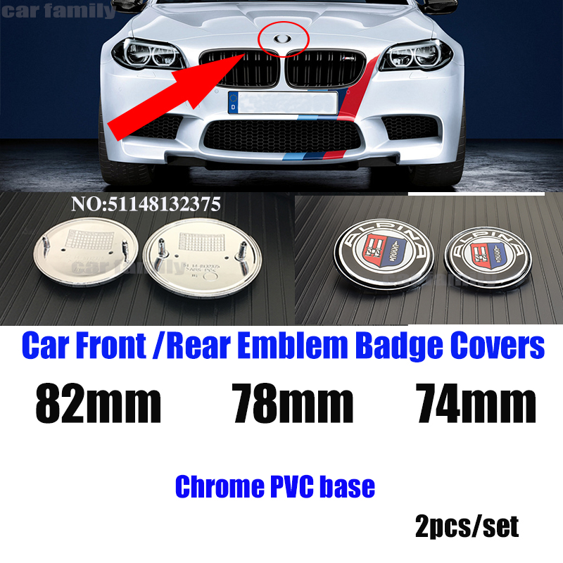 2pcs Chrome Pvc Base 82mm 74mm 78mm 51148132375 Front/rear <font><b>Emblem</b></font> Badge Car Hood <font><b>Logo</b></font> for E46 E30 E39 E34 e60 E36 E38 M3 M5 M6 image