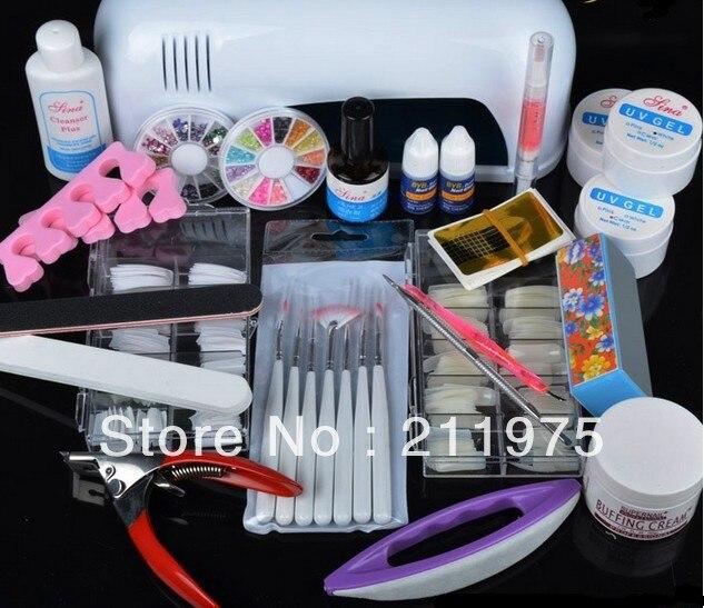 Pro UV Gel Nail Art Tool Kits Sets UV lamp Brush Remover nail tips glue acrylic Ms