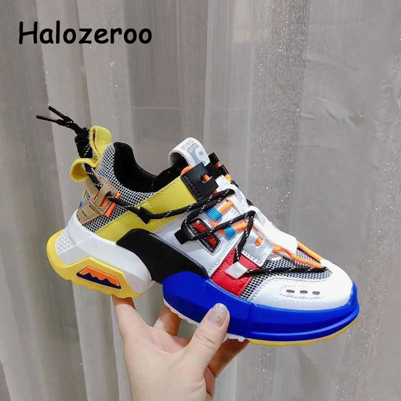 2019 Autumn Fashion Kids Sport Sneakers Baby Girls Mesh Casual Sneakers Children Chunky Sneakers Boys Gray Brand Shoes Trainers