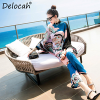 Delocah New 2019 Women Spring Summer Pants 2 Pieces Set Runway Fashion Designer Tassel Print Loose Tops + Pants Suits