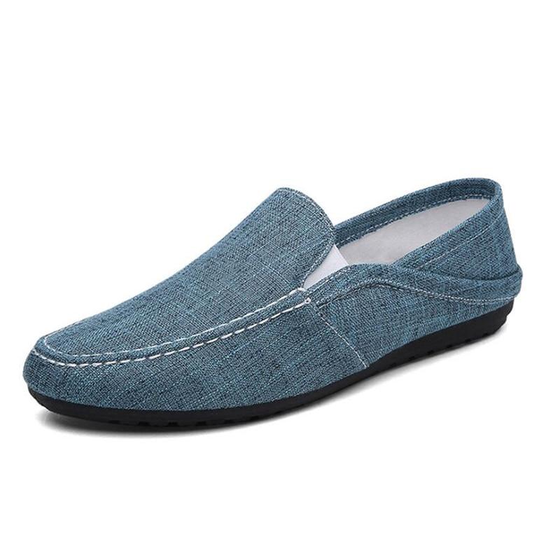 light Pantoufles De Toile Grey Hommes Slip Plat Chanvre Grey Tangnest dark Chaussures D'été Mâle Classique Respirant on Nouveau Blue Occasionnels Pour Mocassins q7Ut4