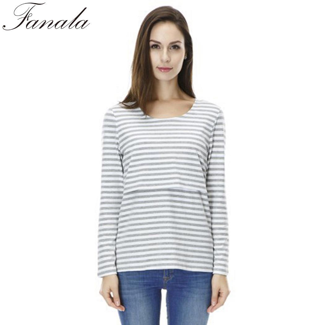 Для женщин новые модные Повседневное в полоску с длинными рукавами и круглым вырезом кормление грудью свободные футболки топы