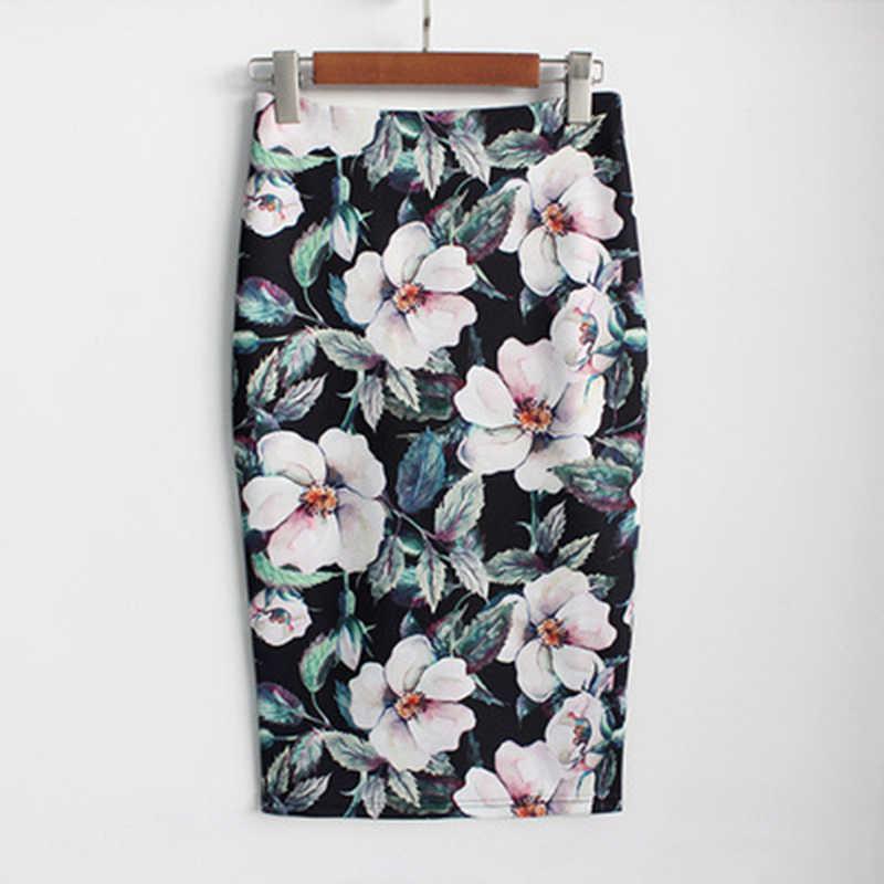 ae77842fc Las mujeres falda lápiz de cintura alta flor grande Bodycon Midi Falda  Mujer estampado blanco negro Oficina OL falda de la cadera