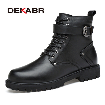 DEKABR Men Genuine Leather Lace-up Ankle Boots High Quality Winter Motorcycle Boots Men Safety Work Shoes Punk Style Men Boots