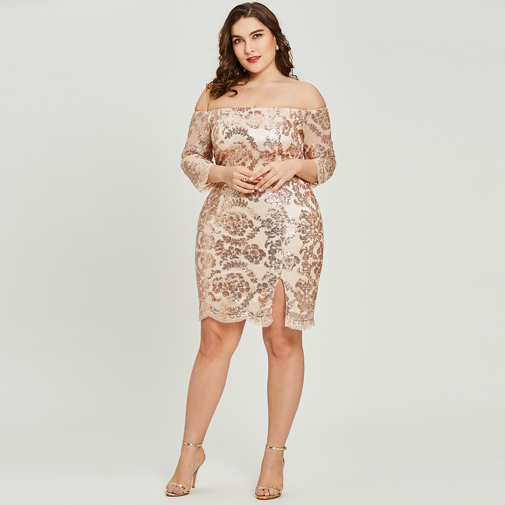 Dressv golden cocktail dress plus size half sleeves off the shoulder ...