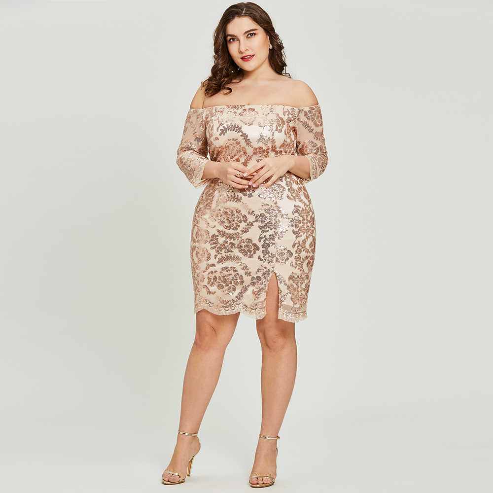 Dressv זהב שמלת קוקטייל בתוספת גודל חצי שרוולים כבוי כתף מסיבת סיום שמלה אלגנטי אופנה קוקטייל שמלות