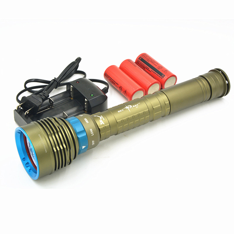 New 14000Lm Scuba Diving 7x CREE XM-L2 LED Dive Flashlight Torch Light Lantern With 3x 26650 Battery & Charger,Free Shipping 100m underwater diving flashlight led scuba flashlights light torch diver cree xm l2 use 18650 or 26650 rechargeable batteries