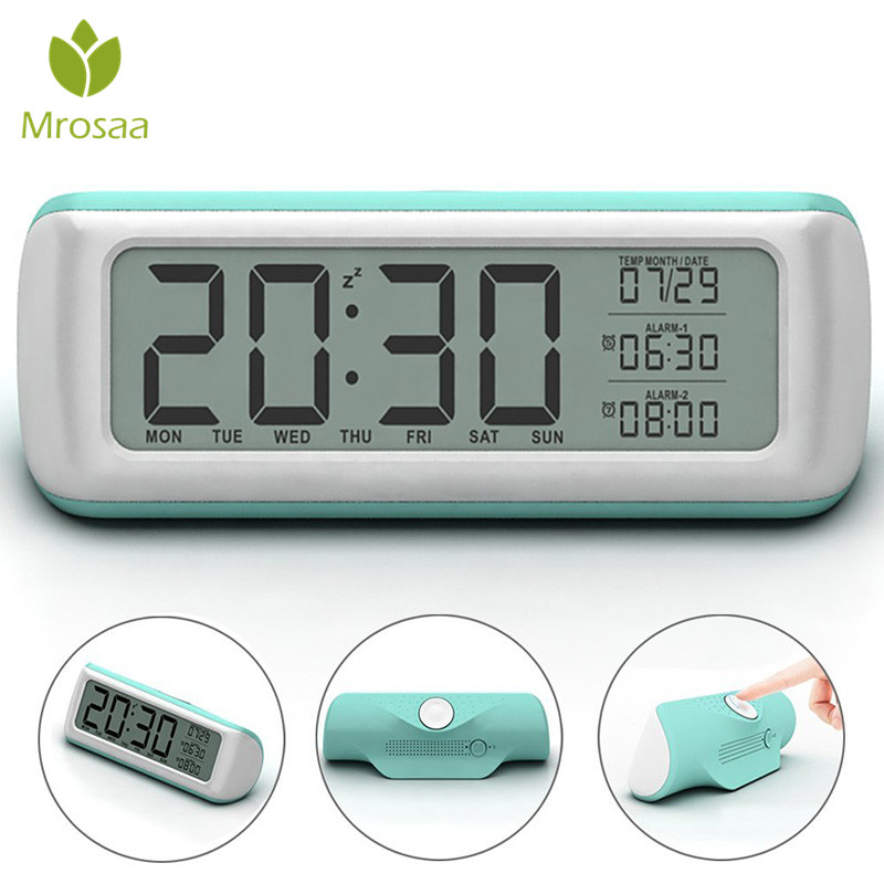 Large Digital Alarm Clock with Backlight 2 Alarms Snooze Optional Weekday Alarm Rotate Button Easy Setting For Kids Table clocks