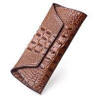 Amasie крокодиловая кожа натуральная женщина кошелек Обложка кошелек Длинные Мода Винтаж Portefeuille роковой carteira feminina EGT0211
