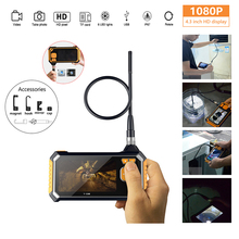 HD Car Endoscope 8mm 1080P 4.3inch Inspection Camera Handheld 1/3/5/10M Lithium Battery Snake Hard
