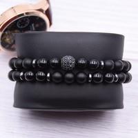 2pc/sets8mm Natural stone Bracelet men Micro Pave CZ 10mm Disco Ball Charms Bracelets for women Men jewelry viking bijoux 3